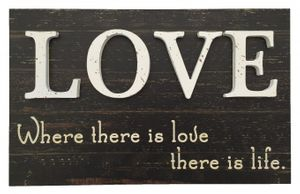 Wandbild Holz Love Where there is love... 41 x 25 cm