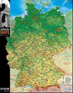 3D-Landkarte Deutschland 60 x 47 cm Karte Germany