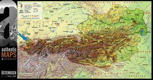 3D-Landkarte Österreich 67,5 x 35 cm Karte Austria
