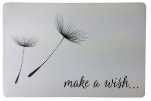 """Schreibtischunterlage """"Make a wish"""" weiß mit schwarzer Pusteblume  40 x 60 cm abwischbar"""