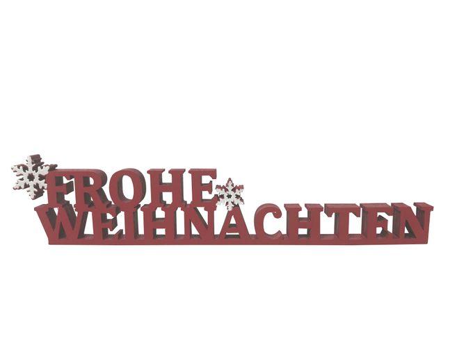 Schriftzug Buchstaben Schrift Holz Frohe Weihnachten rot ca. 19 x 4 ...