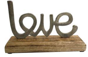 Aufsteller Schriftzug Love auf Mango - Holz ca. 18 x 11 x 5 cm Schrift Liebe braun / silber