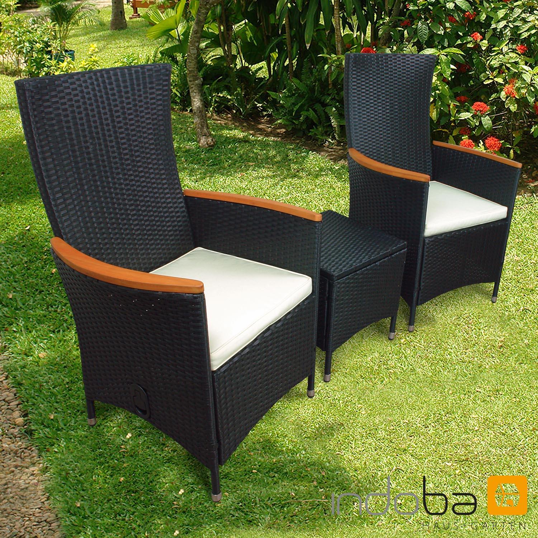 Gartenmöbel Set 3-teilig Valencia Hochlehner - Polyrattan - schwarz - Serie Valencia -IND-70088-VASE3HL