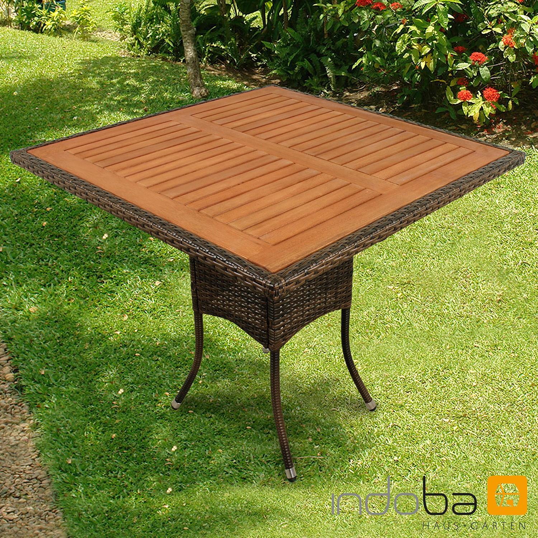 Gartentisch Valencia Quadratisch Polyrattan Braun Serie