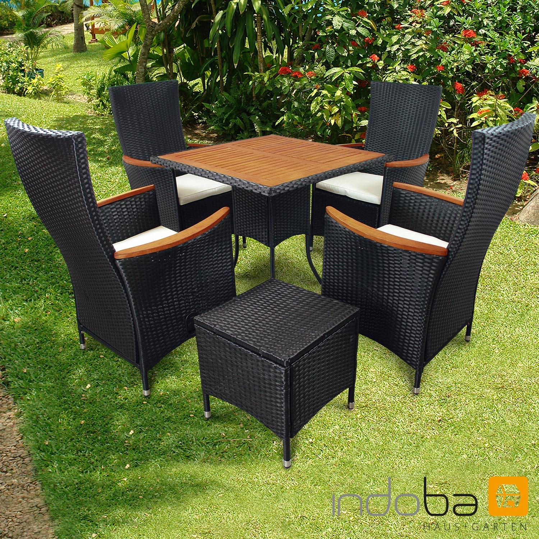 Gartenmöbel Set 6-teilig Valencia Hochlehner - Polyrattan - schwarz - Serie Valencia -IND-70119-VASE6HL