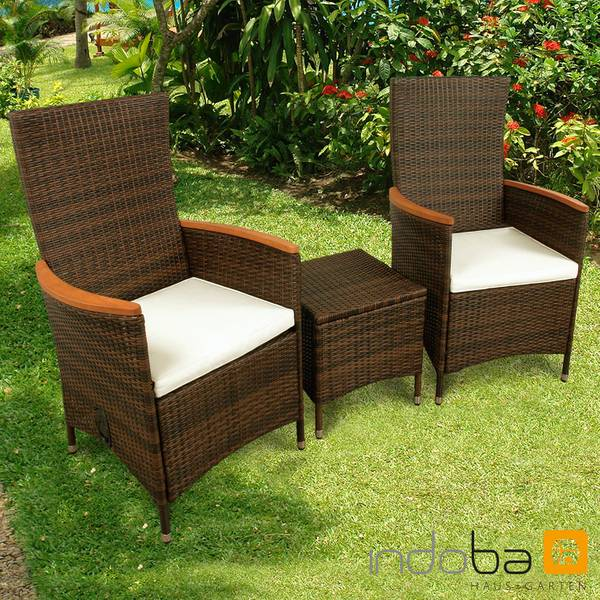 Gartenmöbel Set 3-teilig Valencia Hochlehner - Polyrattan - braun - Serie Valencia - IND-70121-VASE3HL