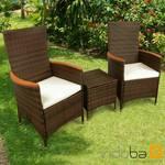 Gartenmöbel Set 3-teilig Valencia Hochlehner - Polyrattan -braun- Serie Valencia - IND-70121-VASE3HL