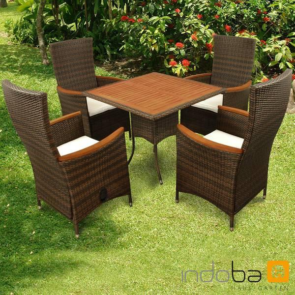 Gartenmöbel Set 5-teilig Valencia Hochlehner - Polyrattan -braun- Serie Valencia - IND-70122-VASE5HL