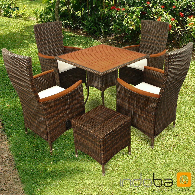 Gartenmöbel Set 6-teilig Valencia Hochlehner - Polyrattan -braun- Serie Valencia - IND-70123-VASE6HL