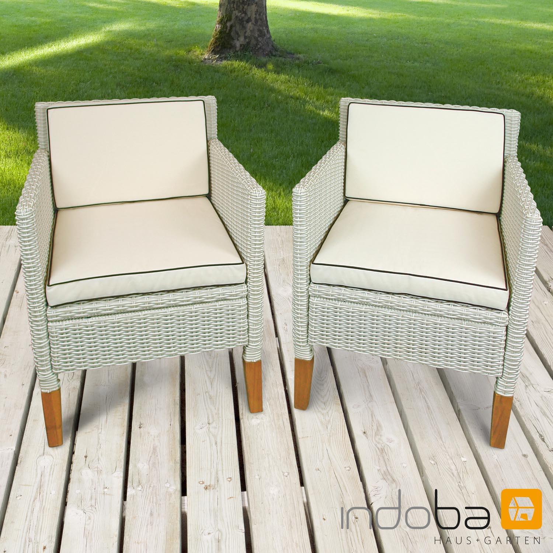 2 x Gartenstuhl Havanna - Polyrattan und Holz - Serie Havanna - IND-70125-ST