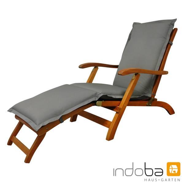 indoba - Polsterauflage Deck Chair Serie Premium - extra dick - Grau