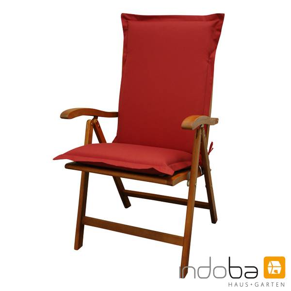 indoba - Sitzauflage Hochlehner Serie Premium - extra dick - Rot
