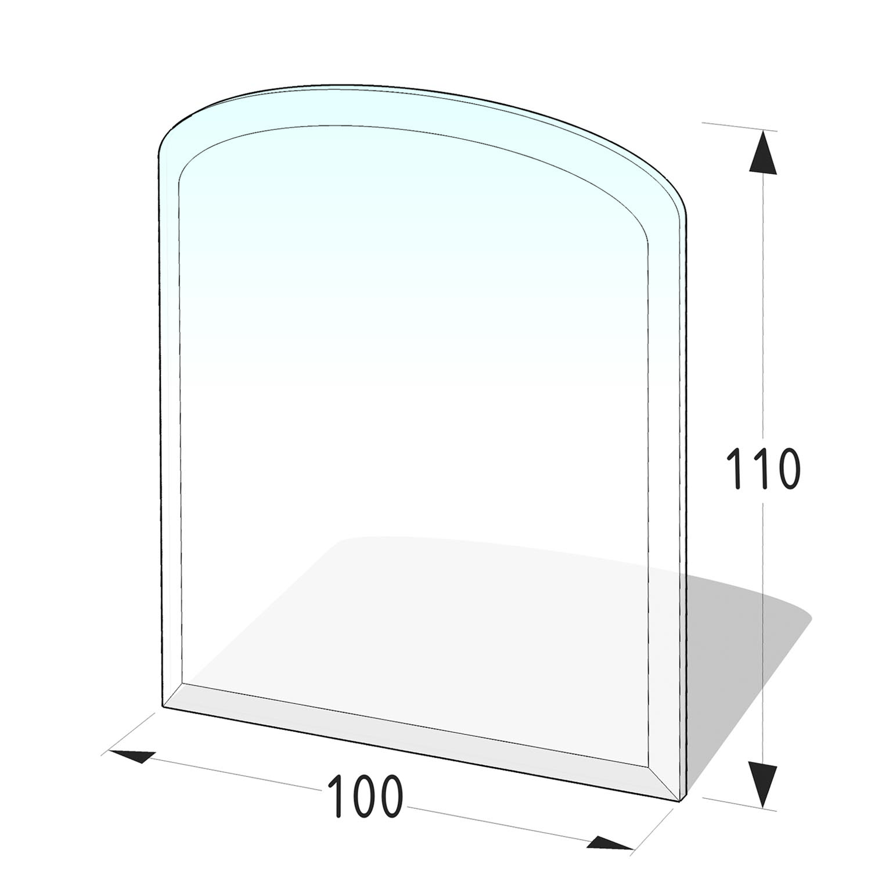 Kamin Glasplatte 8 mm Zunge flach 3 mit Facette