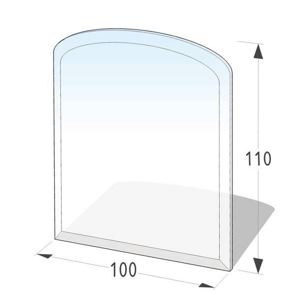 Kamin Glasplatte 8 mm Zunge flach 3 mit Facette – Bild 1