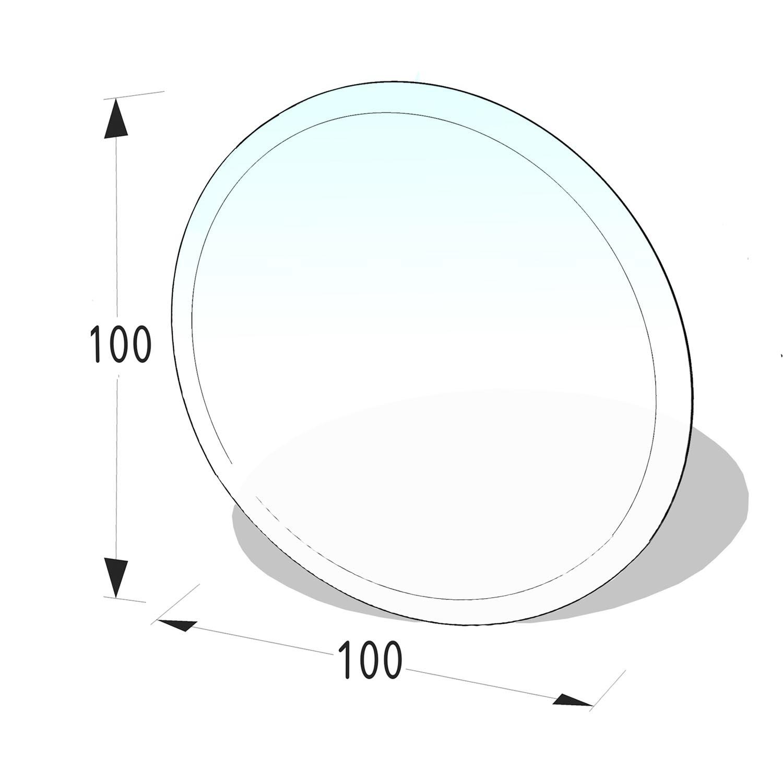 Kamin Glasplatte 8 mm Kreis mit Facette