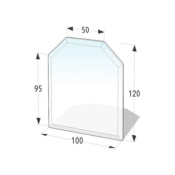 Kamin Glasplatte 6 mm Zunge eckig mit Facette