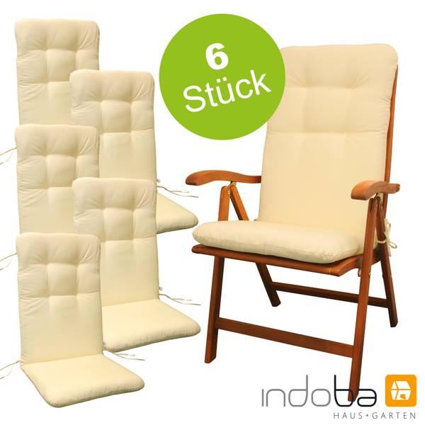 6 x indoba - Sitzauflage Hochlehner - Serie Relax - Beige