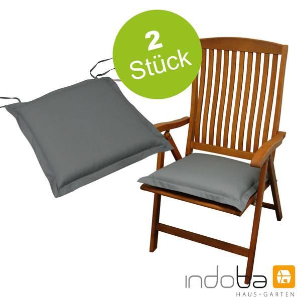 2 x indoba - Sitzkissen Serie Premium - extra dick - Grau
