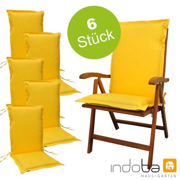 6 x indoba - Sitzauflage Hochlehner Serie Premium - extra dick - Gelb