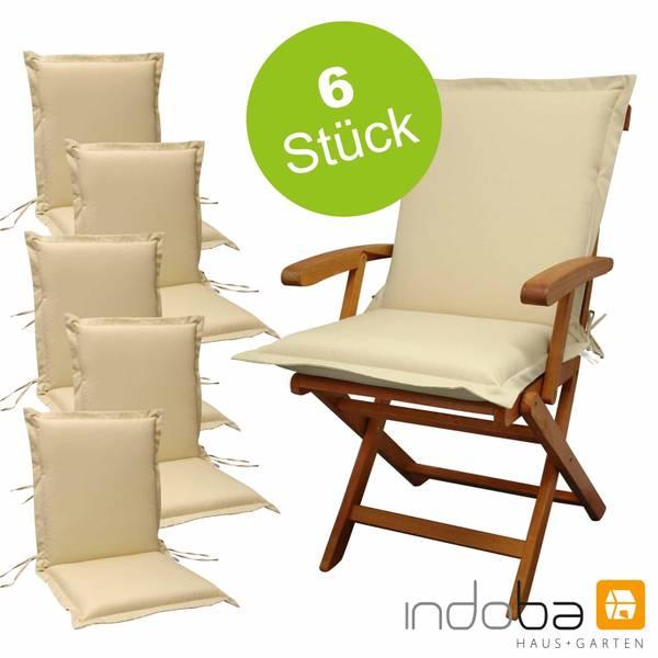 6 x indoba - Sitzauflage Niederlehner Serie Premium - extra dick - Beige