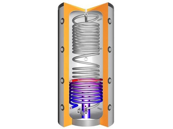 Hygiene-Schichtenspeicher THS 1500 V2 mit einem Wärmetauscher