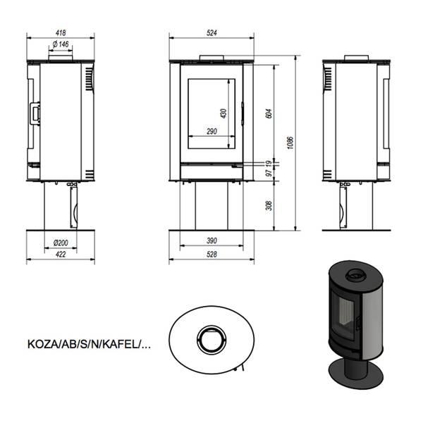 Kaminofen 8 kW Kratki Koza AB/S/N/KAFEL Keramik schwarz – Bild 4