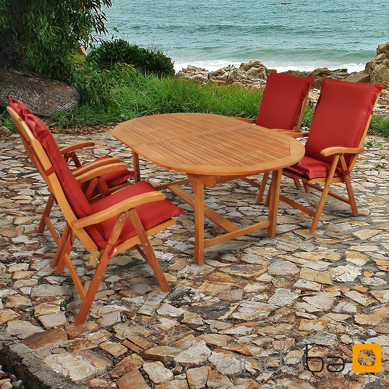 gartenm bel set 9 teilig sun flair mit auflagen premium rot. Black Bedroom Furniture Sets. Home Design Ideas