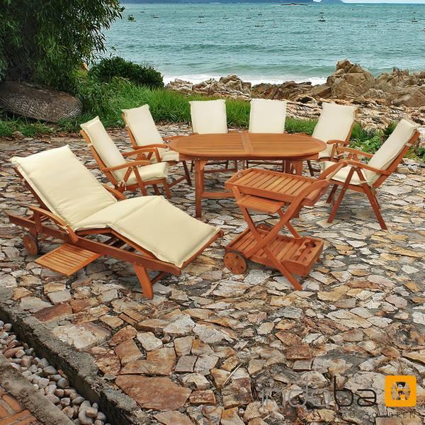 Gartenmöbel Set 16-teilig Sun Flair mit Auflagen Premium Beige