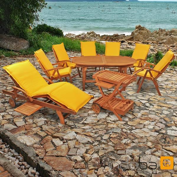 Gartenmöbel Set 16-teilig Sun Flair mit Auflagen Premium Gelb