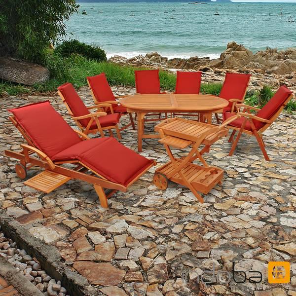 Gartenmöbel Set 16-teilig Sun Flair mit Auflagen Premium Rot