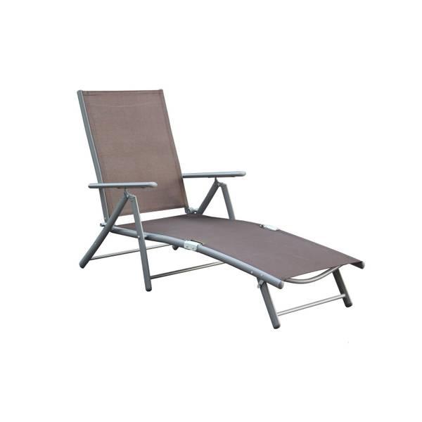 Deckchair, Aluminium-/Stahlgestell, 4-fach verstellbar, taupe