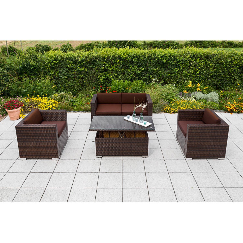 Bari Lounge Set 2er Bank Verstellbarer Tisch