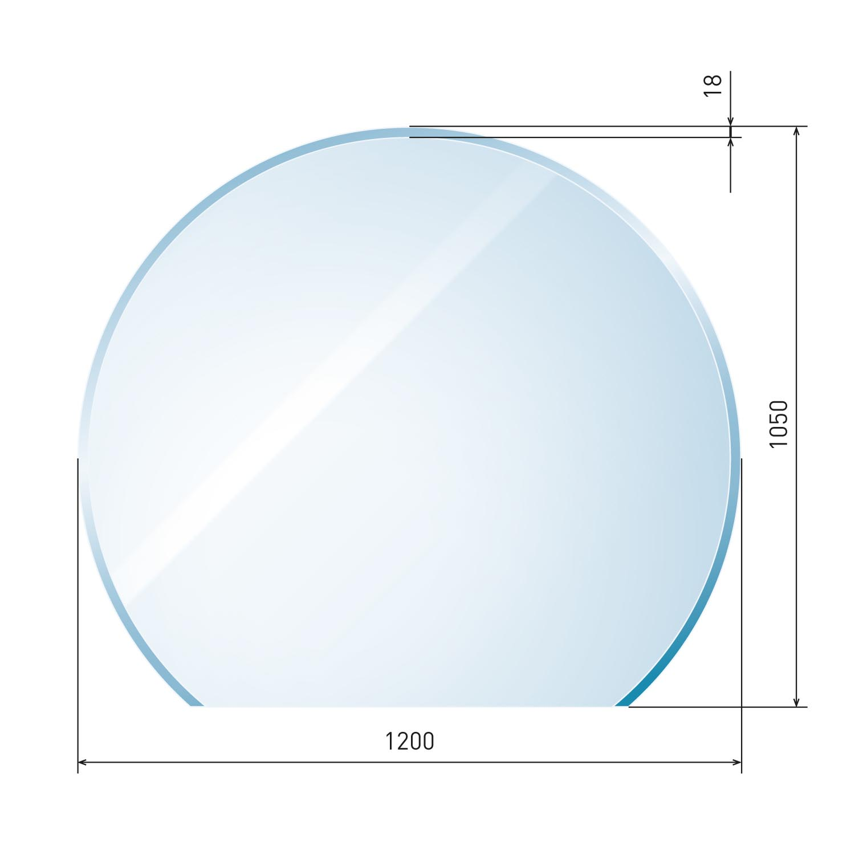 glasbodenplatte 6 mm kreisabschnitt inkl facette. Black Bedroom Furniture Sets. Home Design Ideas