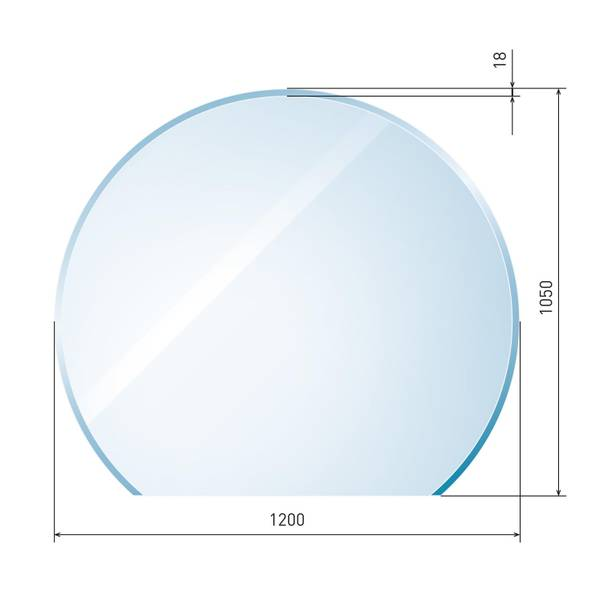 Glasbodenplatte 6 mm Kreisabschnitt inkl. Facette