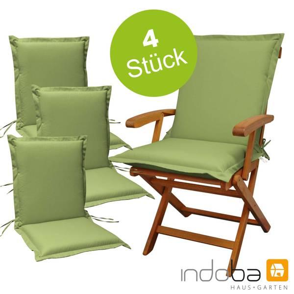 4 x indoba - Sitzauflage Niederlehner Serie Premium - extra dick - Grün