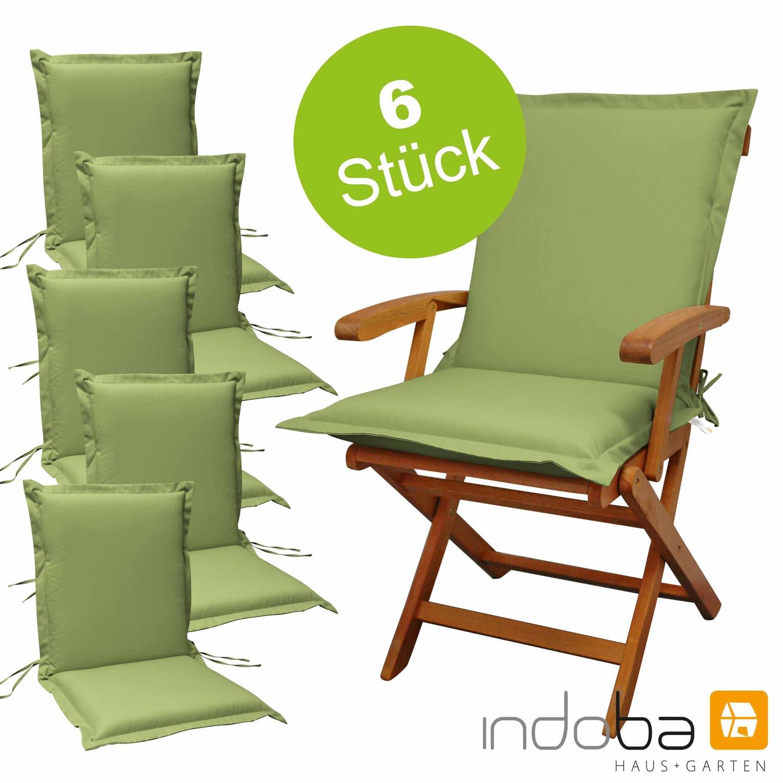 6 x indoba - Sitzauflage Niederlehner Serie Premium - extra dick - Grün