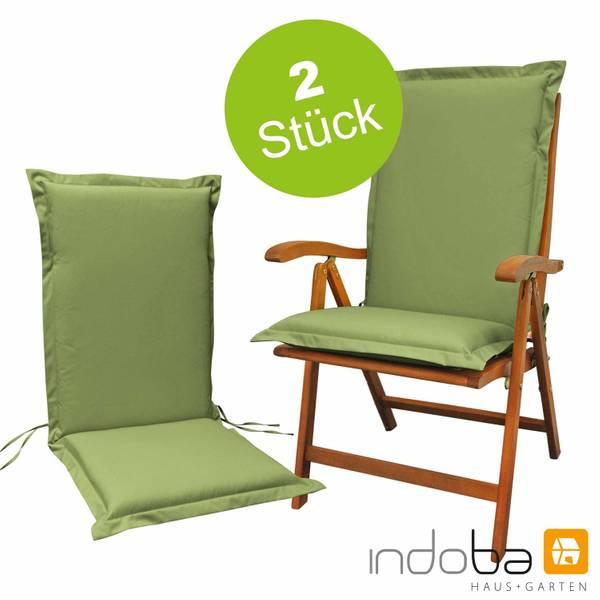 2 x indoba - Sitzauflage Hochlehner Serie Premium - extra dick - Grün