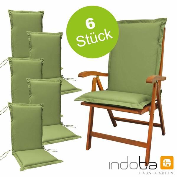 6 x indoba - Sitzauflage Hochlehner Serie Premium - extra dick - Grün
