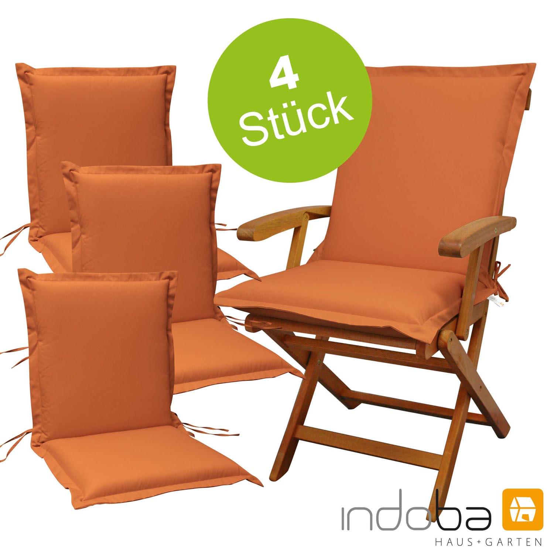 4 x indoba - Sitzauflage Niederlehner Serie Premium - extra dick - Terra