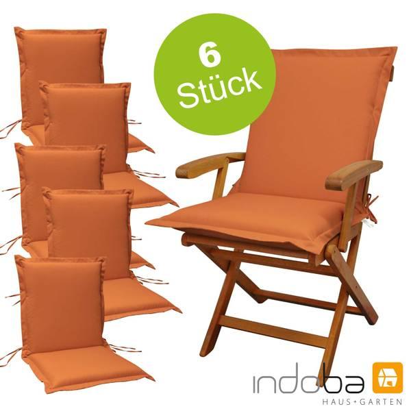 6 x indoba - Sitzauflage Niederlehner Serie Premium - extra dick - Terra