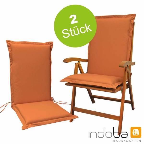 2 x indoba - Sitzauflage Hochlehner Serie Premium - extra dick - Terra