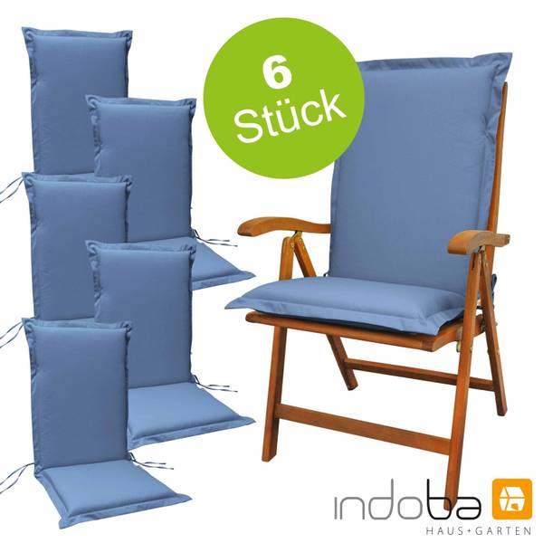 6 x indoba - Sitzauflage Hochlehner Serie Premium - extra dick - Blau