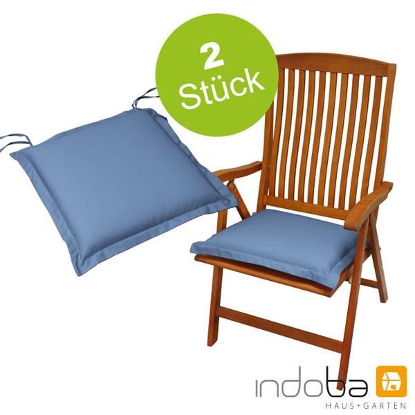 2 x indoba - Sitzkissen Serie Premium - extra dick - Blau