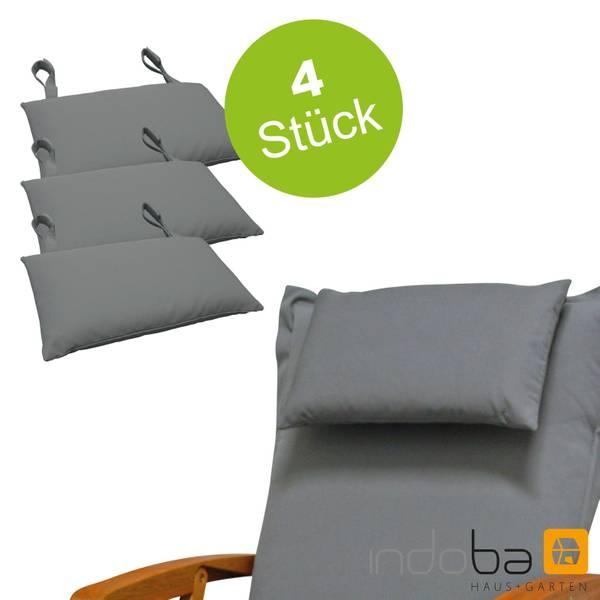4x indoba - Kopfkissen Serie Premium - extra dick - Grau