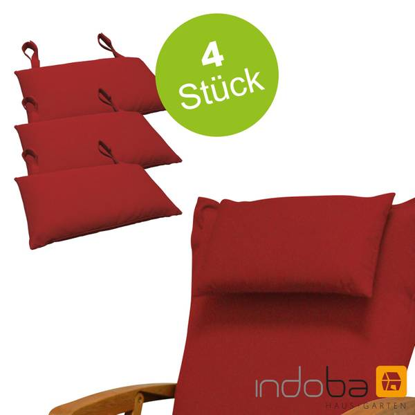 4x indoba - Kopfkissen Serie Premium - extra dick - Rot
