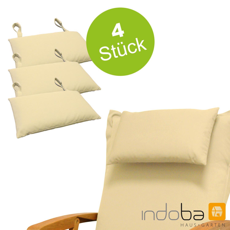 4x indoba - Kopfkissen Serie Premium - extra dick - Beige
