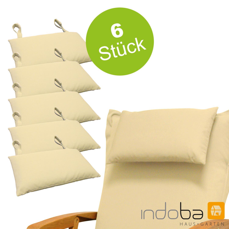 6x indoba - Kopfkissen Serie Premium - extra dick - Beige