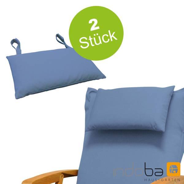 2x indoba - Kopfkissen Serie Premium - extra dick - Blau