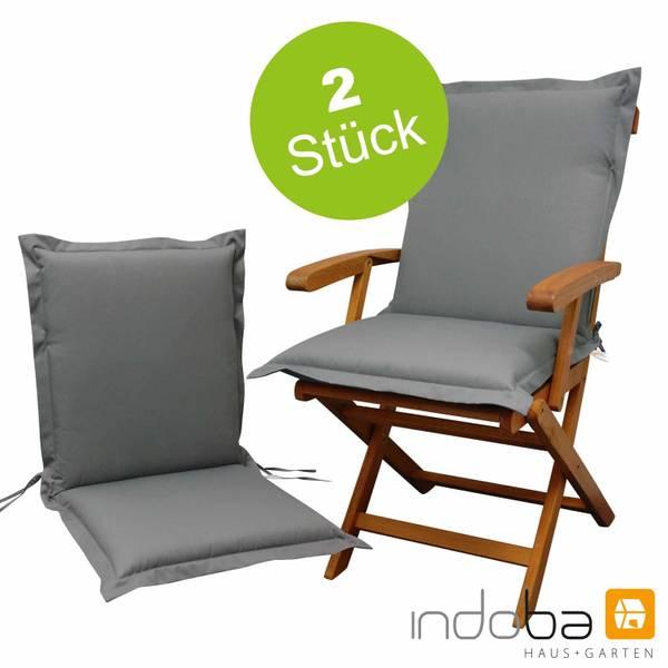 2 x indoba - Sitzauflage Niederlehner Serie Premium - extra dick - Grau