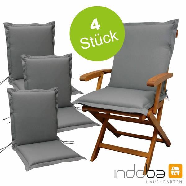 4 x indoba - Sitzauflage Niederlehner Serie Premium - extra dick - Grau